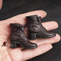 "1/6th Scale Brown Women Crude boots Shoe Model For 12"" Female Figure Body Doll"