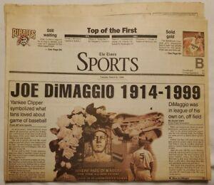 DEATH OF JOE DiMAGGIO NEWSPAPER: 9 MAR 1999 - BEAVER CO TIMES, NEW YORK YANKEES
