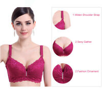Women's Plus Size Sexy Lace Embroidery  Bra Push Up Underwire Brassiere Lingerie