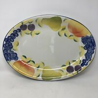 """Bizzirri Made In Italy Large Serving Plate Platter Fruit Hand Painted 15"""" x 11"""""""