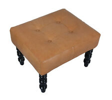 Indian Handmade Designer genuine Pure Tan Leather with Wooden Legs Stool