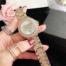 New Luxury Crystal Watch Triangle Stainless Steel Quartz Women's Dress Watch
