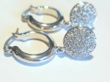 925 Sterling Silver Hoop Earrings With Round Crystal Paved Dangling Charm