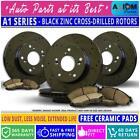 [Front+ Rear Kit] Black Anti-Rust Drilled -4 Brake Rotors + 8 Ceramic Brake Pads