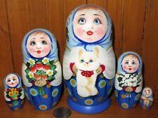 Russia nesting Dolls Matryoshka Babushka & Bunny Rabbit GIRLS MATT Veselova 5