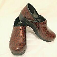 Dansko Professional Women's Brown Leopard Patent Leather Clog, SZ EU 39 / US 8.5