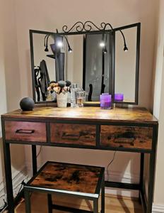 NEW Industrial Vanity Dresser Dressing Table Stool Mirror Vintage Retro Wooden