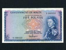 Malta:P-27a,5 Pounds,1949 (1961) * Queen Elizabeth II * VF-EF *