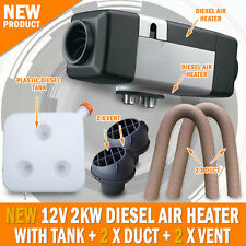 NEW 12 Volt 2KW Diesel Air Heater Tank 2 x Vent 2 x Duct Caravan Motorhome RV