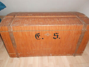 Überseekoffer Holz Koffer Antik Truhe Kiste Reisetruhe Reisekoffer
