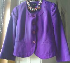 HOBBS PURPLE JACKET 10 UK SUIT WEDDING/OCCASION/PARTY SILK/COTTON LIGHTLY USED