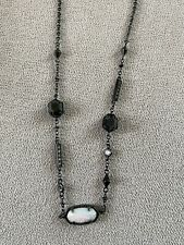 Kendra Scott Adjustable Custom Color Bar Necklace - White Opal And Black Stone