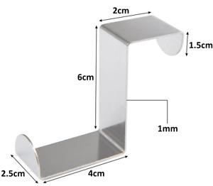 x2 Over Door Hook Stainless Steel Reversible Cupboard Drawer Metal Hooks Hanger