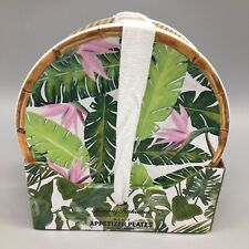 x4 Tommy Bahama Hawaiian Melamine Appetizer Plate Set Bird of Paradise Palm NEW