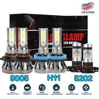 9005 H11 LED Headlight 5202 Fog Light for Chevy Silverado 2500 3500 HD 07-19 6pc