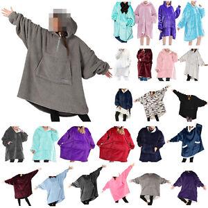 Oversized Wearable Blanket Hoodie Hooded Sweatshirt Comfy Fleece Pullover Gifts
