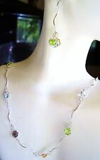 """22"""" Multi Gem Sterling Necklace/Earrings  19- 6mm Round Gems-14Carats"""