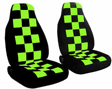 Checkered Car Seat Covers Lime Green & Black Velour Front Set