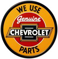 Chevrolet Chevy Genuine Parts Round Retro Vintage Tin Sign 12 x 12in