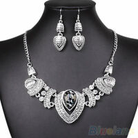 HN- Women's New Perfect Rhinestone Choker Nobby Chain Necklace Earrings Jewelry