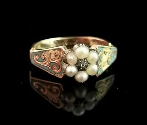 Antique Regency mourning ring, diamond, pearl and blue enamel, 18ct gold