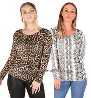 Ladies Long Sleeve Animal Print & Snake Print LYCRA Scoop Neck Fashion Tops 8-14