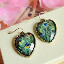 Women 1 pair Bronze Peacock Feather Peach Heart  Ear Stud Earrings Jewelry Gift
