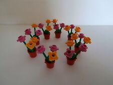 LEGO 8 ROSSA vasi con fiori nei colori arancione chiaro e rosa Merce Nuova