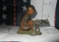 AWESOME LEAD FIGURES Sitting Solider with Machine or GATLING GUN NICE!