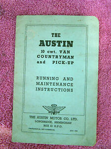 Austin 10 cwt Van, Countryman, & Pickup Running & Maintenance - July 1949