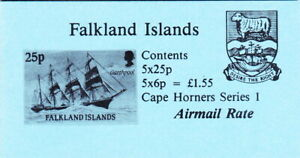 Falkland Is 1990 -  Booklet - Cape Horners Series I - 5 x 25p; 5 x 6p. - airmail