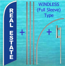 Real Estate Windless Banner Flag + Pole Mount Kit Tall Curved Feather Sign