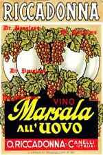 Vintage Riccadonna Vino Marsala Italian Wine Poster, Resaurant, Wine Bar Decor.