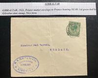 1922 Gibraltar Commercial Cover To Morlaix France