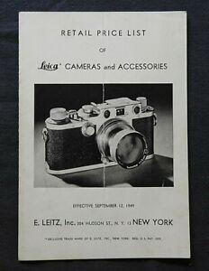 1949 Leica Ernst Leitz Wetzlar Camera Lens Catalog Price Brochure Book NEW YORK