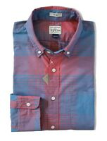 J.Crew - Mens S Slim Fit - NWT - Blue/Coral Plaid Stretch Washed Shirt