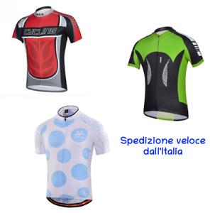 Maglietta ciclismo bici MTB Corsa 3 tasche Maglia Traspirante Tessuto estivo