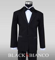 Formal Ring Bearer Kids Boy Tuxedo in Black Dresswear with Bow Tie