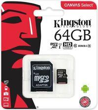 CARTE MICRO SD HC 64 GO CLASSE 10 KINGSTON CANVAS UHS-I 80 MO/S FULL HD 4K