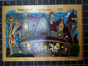 Vintage Wood Puzzle Fisher Price Haunted House Smollin ghost vampire witch demon