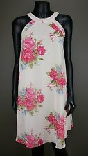 NEW BETSEY JOHNSON CREAM CORAL FLORAL PRINT SLEEVELESS CHIFFON LINED DRESS Sz 10