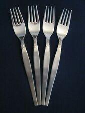 SET 4 DINNER FORKS! Vintage GERMANY stainless: mid century DIAMOND pattern: EXC