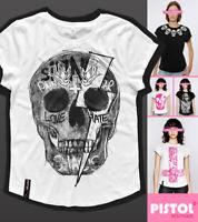 Pistol Boutique Women's White casual crew neck SKULL GRAFFITI LIGHTNING T-shirt