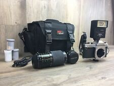 Pentax K1000 35mm Slr Film Camera with Accessories And Carrying Bag