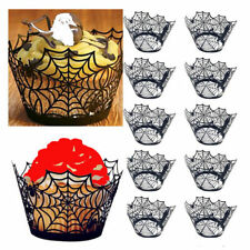 12Pcs Halloween Spider Cupcake Wrappers Paper Cake Topper Favor Xmas Decor