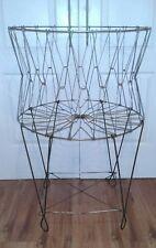 "LARGE 40"" Vintage Industrial Folding Collapsible Primitive Wire Laundry Basket"