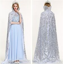 "71"" Scales Sequin Satin Cloak Cape Beauty Pageant Party Costume Cosplay - SILVER"