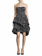 $3690 NWT Oscar de la Renta Abstract Floral Strapless Silk Dress 6