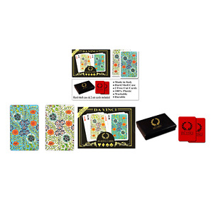 DA VINCI Fiori, Italian 100% Plastic Playing Cards, 2-Deck Bridge Size Small ...