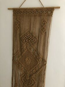 Genuine Antique Macrame Wall Hanging - 70s Vintage Craft